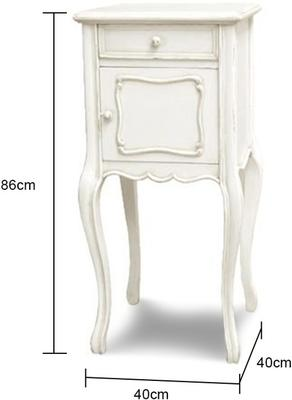 French White Bedside Cabinet with Slender Legs image 2