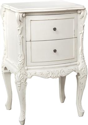 White Two Drawer Bedside Table French Carved