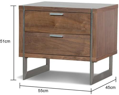 Two Drawer Walnut Retro Bedside Table image 2