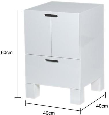 White High Gloss Bedside Table Modern Design image 2