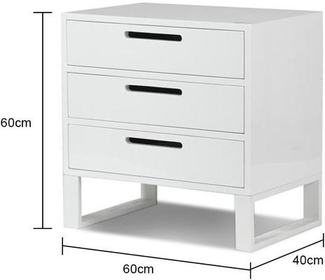 White High Gloss Three Drawer Bedside Table image 2