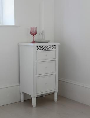 White Fretwork Bedside Table Three Drawers