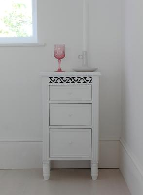 White Fretwork Bedside Table Three Drawers image 2