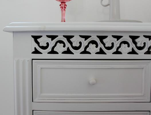 White Fretwork Bedside Table Three Drawers image 3
