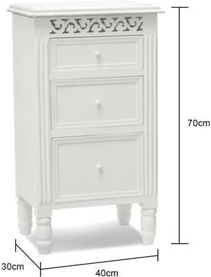 White Fretwork Bedside Table Three Drawers image 4