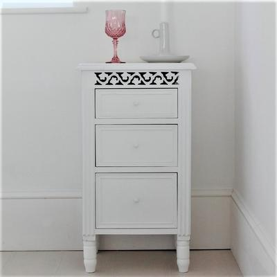 White Fretwork Bedside Table Three Drawers image 5