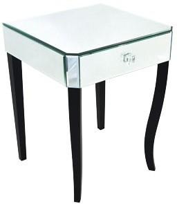 Mirrored Bedside Table One Drawer Black Legs image 2