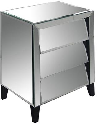Mirrored Angled Bedside Table 3 Drawers