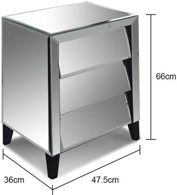 Mirrored Angled Bedside Table 3 Drawers image 2