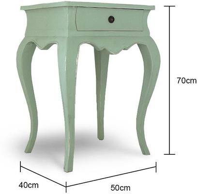 Vintage Green French Bedside Table One Drawer image 2