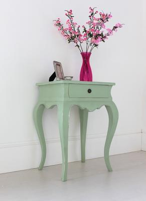 Vintage Green French Bedside Table One Drawer image 3