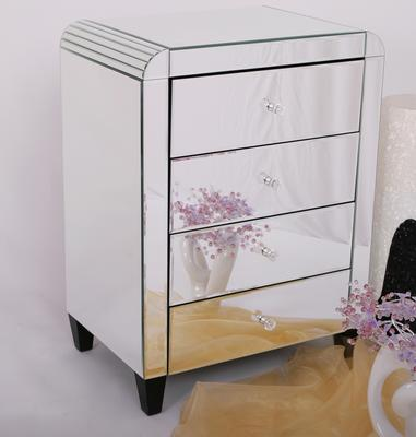Four Drawer Mirrored Bedside Table Art Deco
