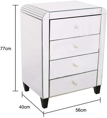 Four Drawer Mirrored Bedside Table Art Deco image 2