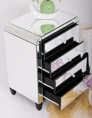 Four Drawer Mirrored Bedside Table Art Deco image 3