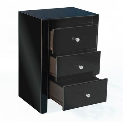 Three Drawer Mirrored Bedside