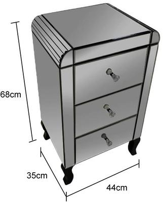 Smoked Mirror Bedside Table 3 Drawer Art Deco image 2