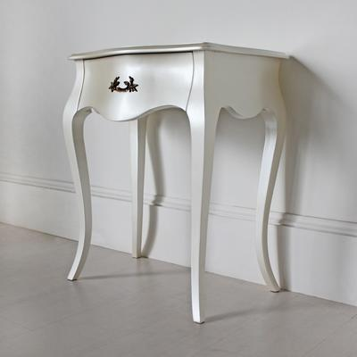 Curvy French Bedside Table One Drawer in Pearlescent Creamy White image 2