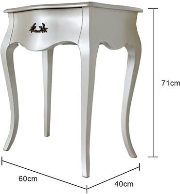 Curvy French Bedside Table One Drawer in Pearlescent Creamy White image 4