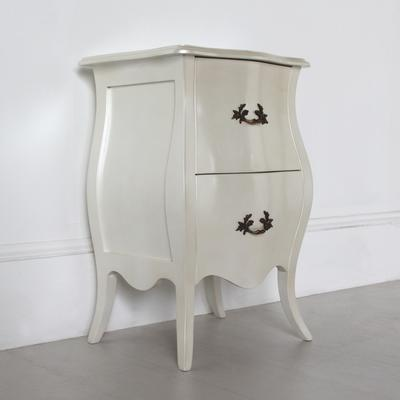 Curvy French Bedside Table Two Drawers in Pearlescent Creamy White image 2