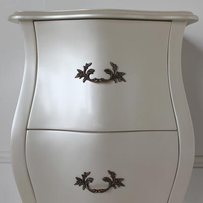 Curvy French Bedside Table Two Drawers in Pearlescent Creamy White image 3