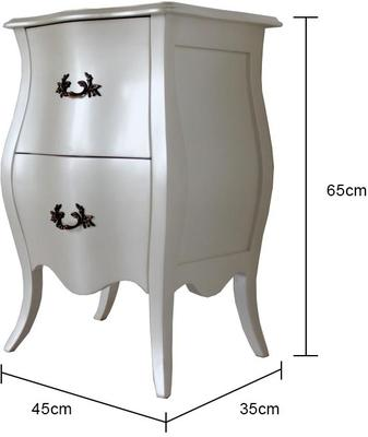 Curvy French Bedside Table Two Drawers in Pearlescent Creamy White image 4