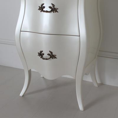 Curvy French Bedside Table Two Drawers in Pearlescent Creamy White image 5
