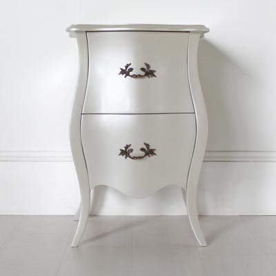 Curvy French Bedside Table Two Drawers in Pearlescent Creamy White