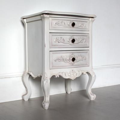 Classic French Bedside Table Three Drawers in Antique White image 2