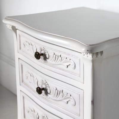 Classic French Bedside Table Three Drawers in Antique White image 3