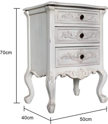 Classic French Bedside Table Three Drawers in Antique White image 5