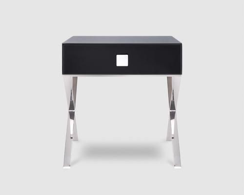Richmond Black Glass/Polished S. Steel Bedside Table image 2