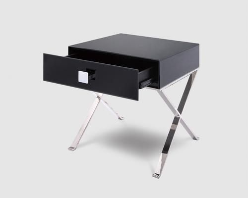 Richmond Black Glass/Polished S. Steel Bedside Table image 3