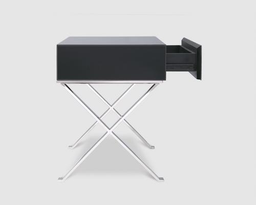 Richmond Black Glass/Polished S. Steel Bedside Table image 4