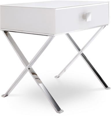 Richmond White Glass/Polished S. Steel Bedside Table