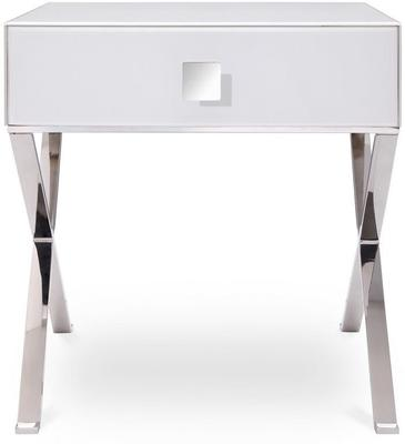 Richmond White Glass/Polished S. Steel Bedside Table image 2
