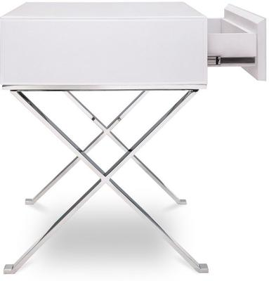 Richmond White Glass/Polished S. Steel Bedside Table image 4