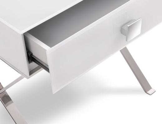 Richmond White Glass/Polished S. Steel Bedside Table image 5
