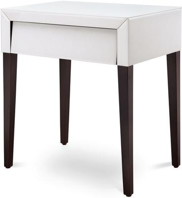 Pure White Glass/Wenge Legs Bedside Table
