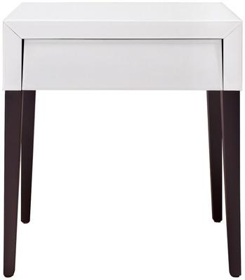 Pure White Glass/Wenge Legs Bedside Table image 2