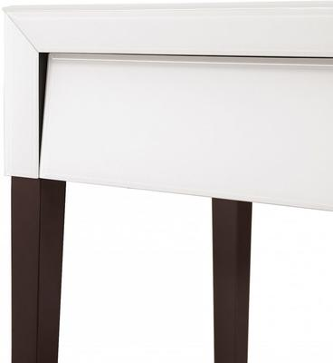 Pure White Glass/Wenge Legs Bedside Table image 5