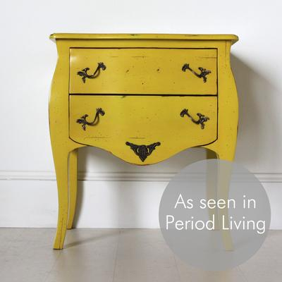 French Two Drawer Bedside Table Yellow with Brass Handles image 2