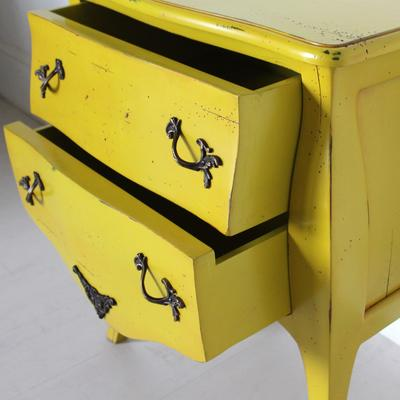 French Two Drawer Bedside Table Yellow with Brass Handles image 3