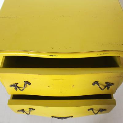 French Two Drawer Bedside Table Yellow with Brass Handles image 4