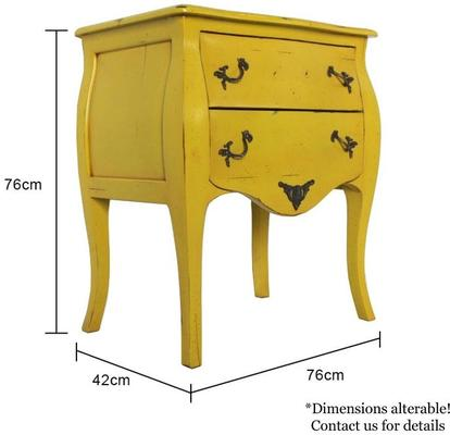 French Two Drawer Bedside Table Yellow with Brass Handles image 5
