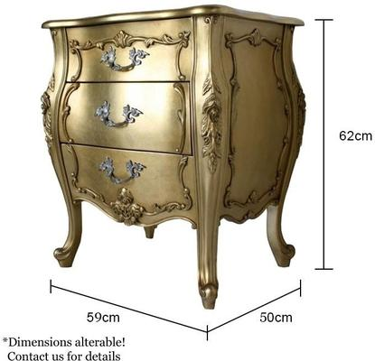 French Three Drawer Bedside Baroque Gold Leaf image 2