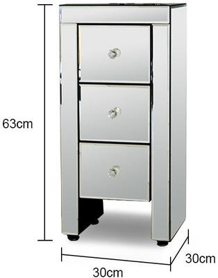 Narrow Mirrored Bedside Table 3 drawers image 2