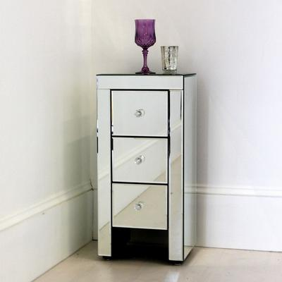 Narrow Mirrored Bedside Table 3 drawers image 3