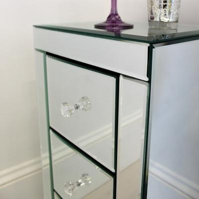 Narrow Mirrored Bedside Table 3 drawers image 4