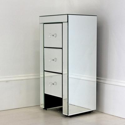 Narrow Mirrored Bedside Table 3 drawers image 5