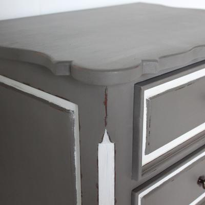 French Three Drawer Ornate Bedside Distressed Grey image 2